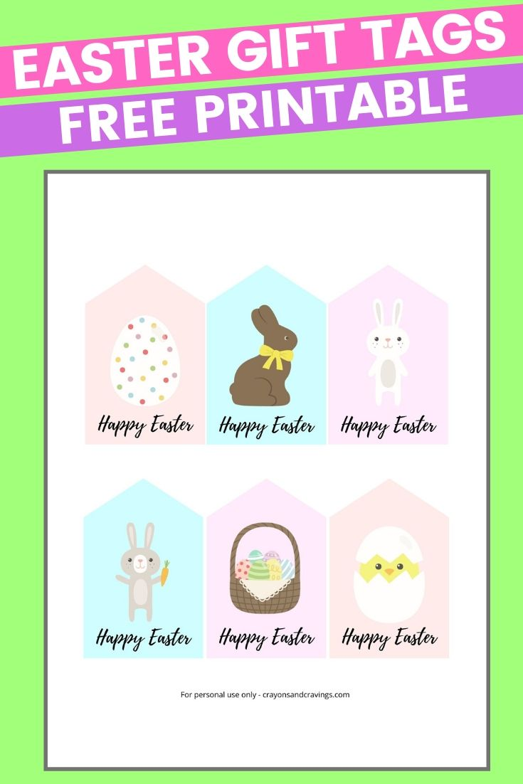 Free Printable Easter Tags 6 Colorful Designs