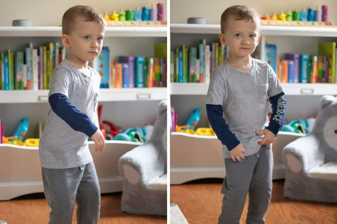 Toddler dancing with Alexa in background