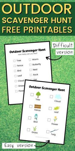 Outdoor Scavenger Hunts for Kids Printable