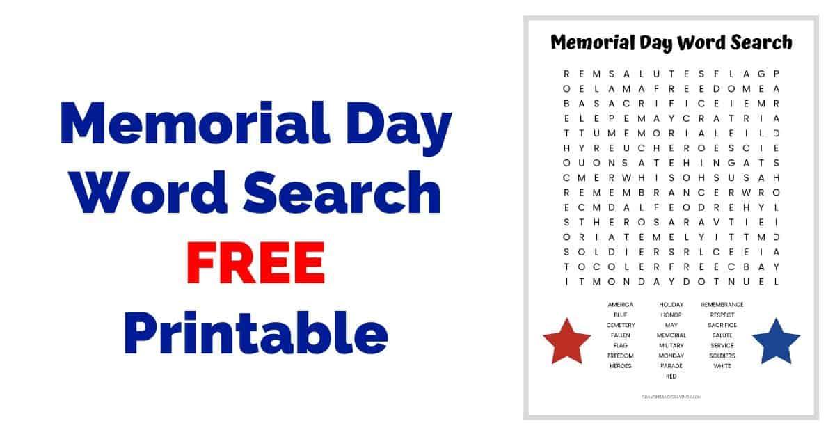 Memorial Day Word Search FREE Printable Worksheet