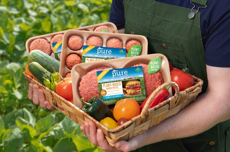 Pure Farmland Products and fresh vegetables in basket