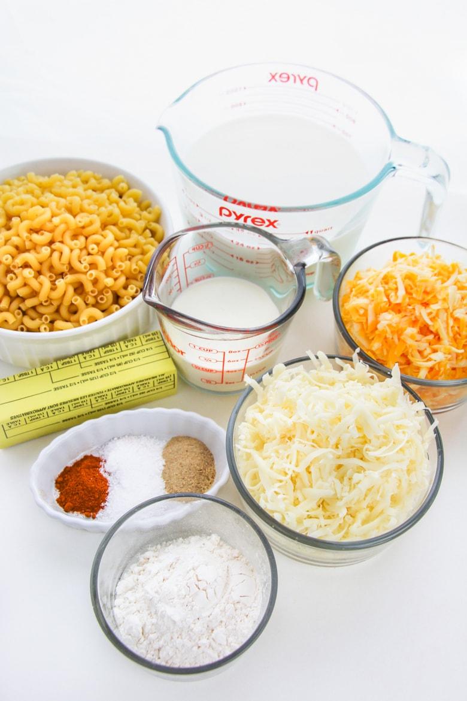 elbow pasta, milk, cheese, butter, seasoning, flour, cream