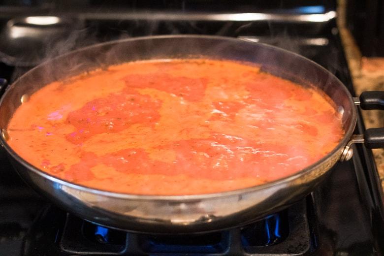 Prego sauce in pan