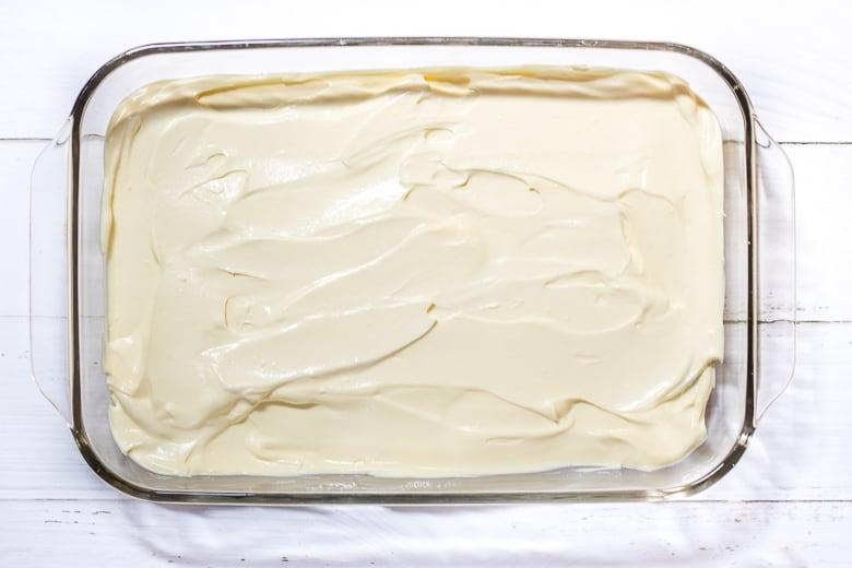 Vanilla pudding in 9 x 13 baking dish