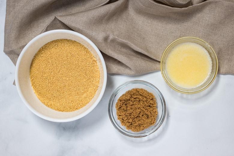 Graham cracker crumbs, brown sugar, melted butter