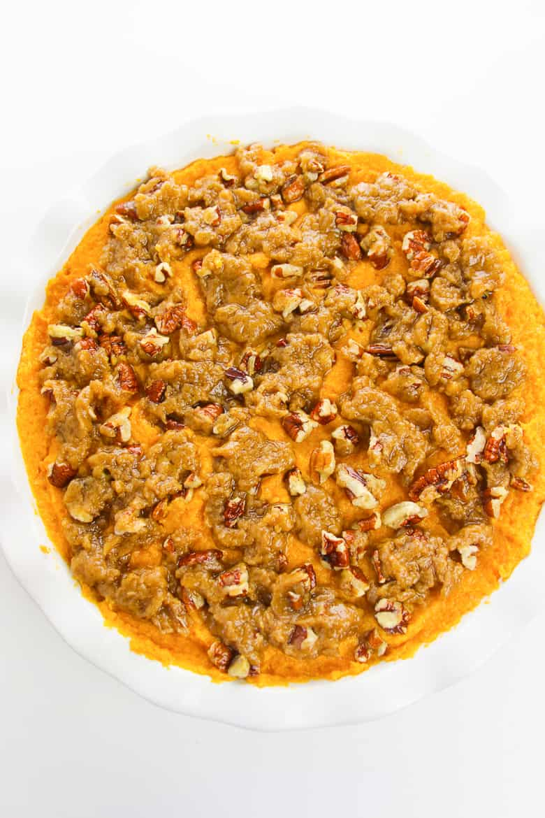 Sweet Potato Casserole before baking
