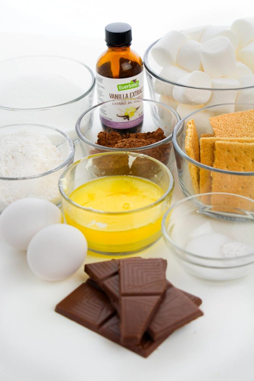 Ingredients for S'mores Brownies