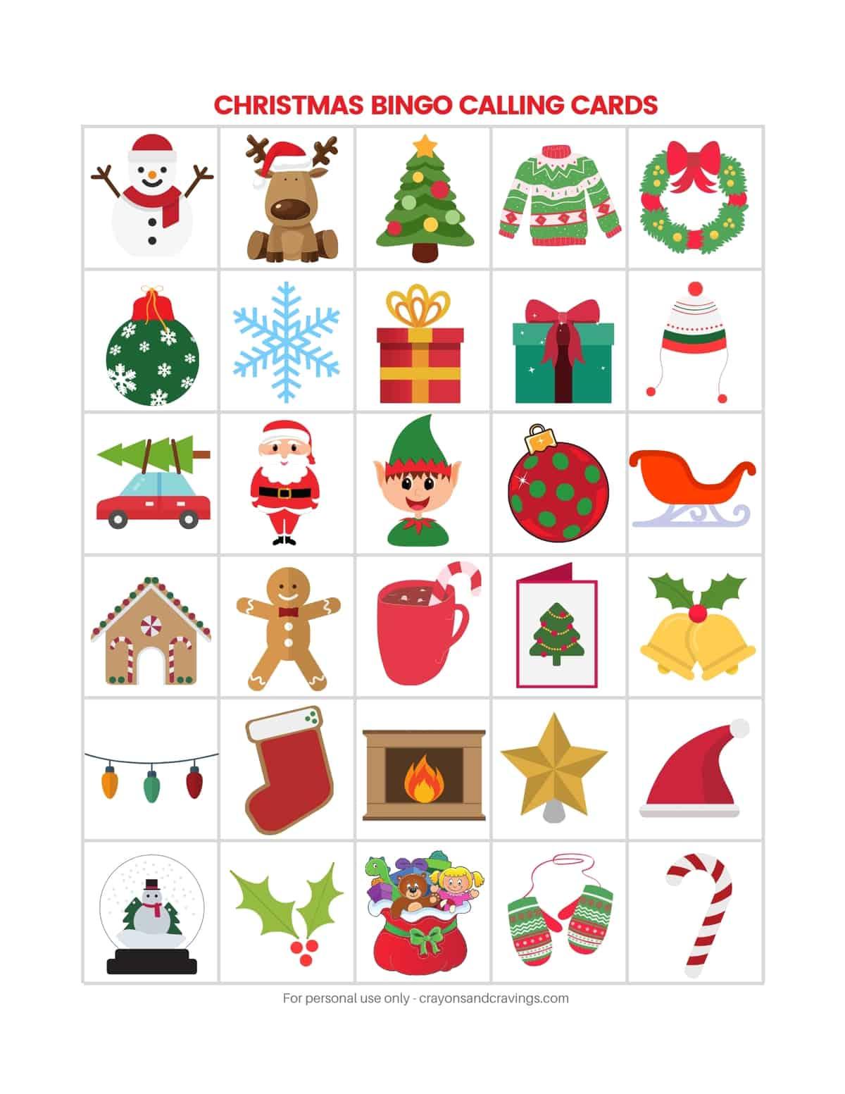 Christmas Bingo Calling Cards