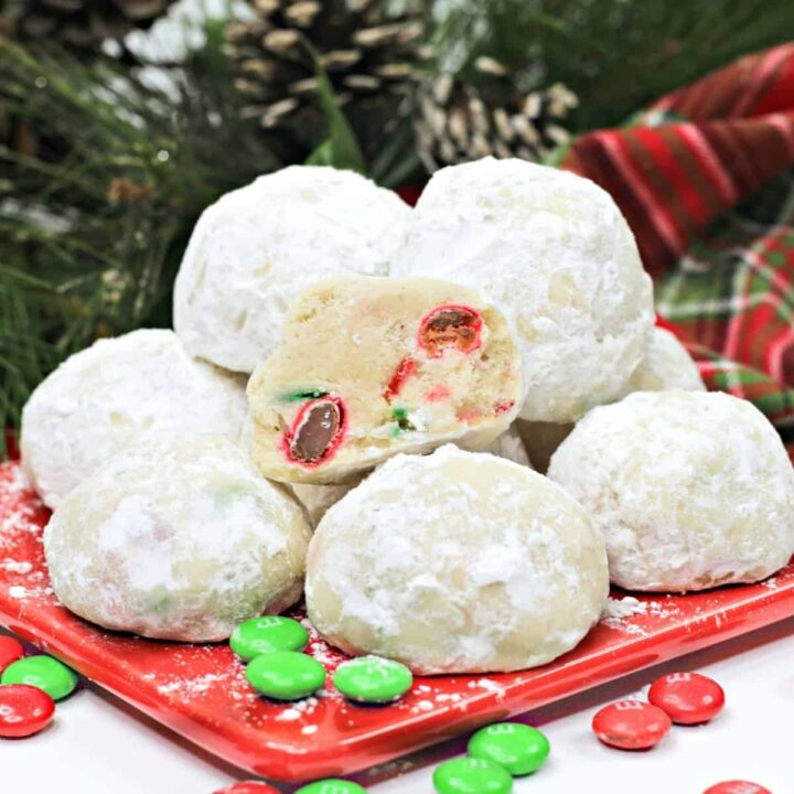 Christmas Snowball Cookies with red and green M&Ms