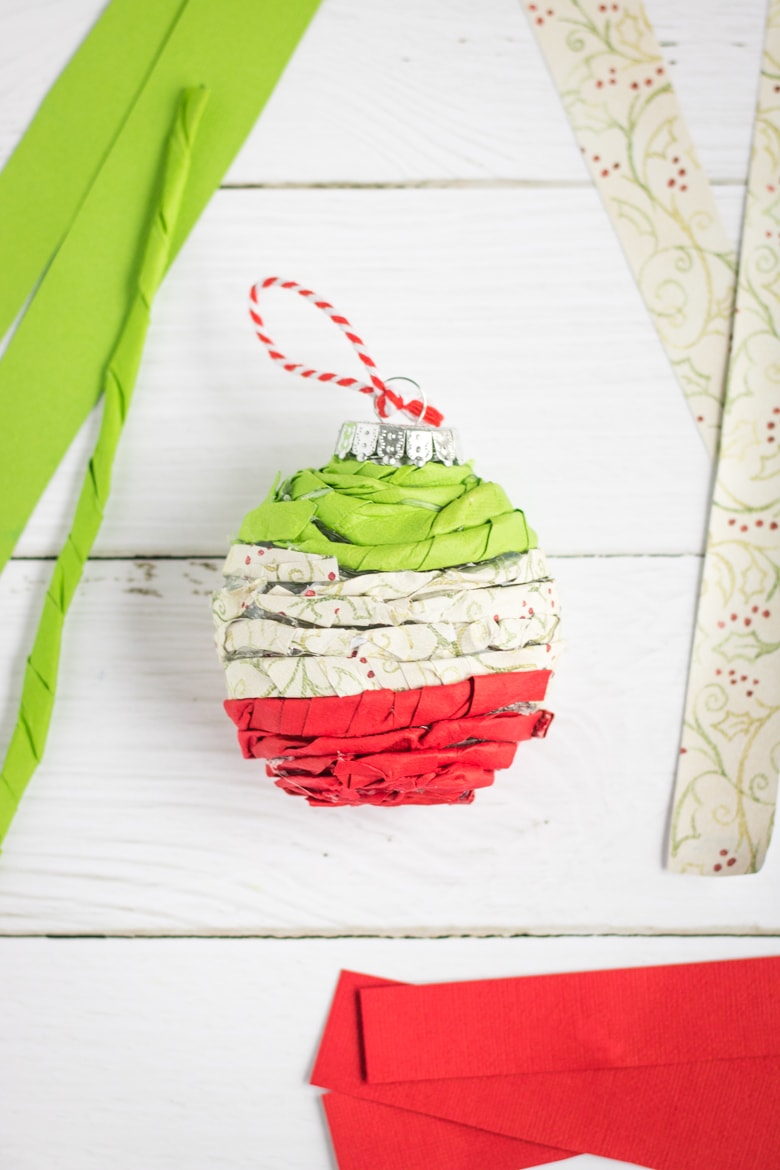 Homemade Twisted Paper Christmas Ornament
