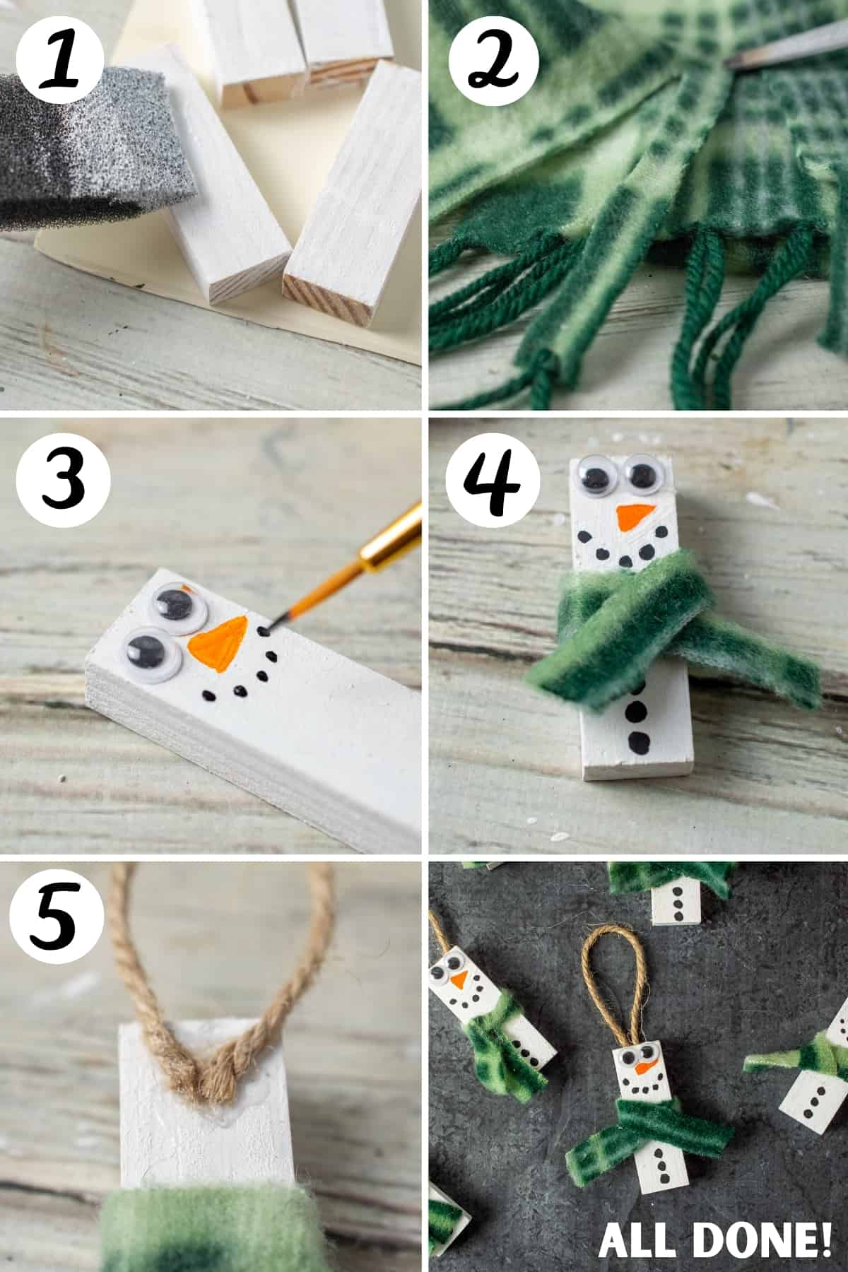 How to Make Snowman Ornaments with Wood Blocks from Dollar Tree