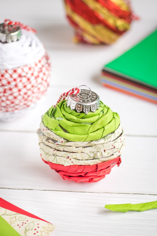 Paper twist Christmas ornaments