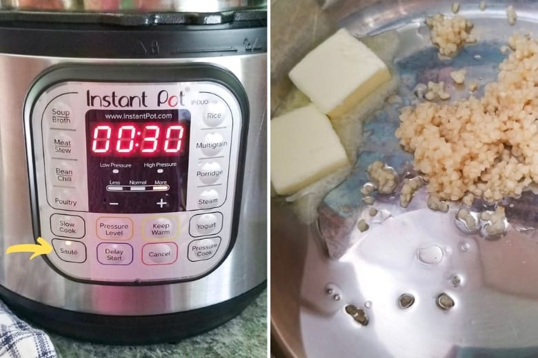 Instant Pot set to Saute and inside of pressure cooker with butter, oil, and garlic