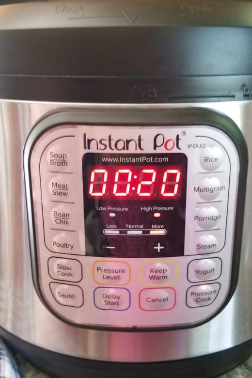 Instant Pot set to 20 minutes