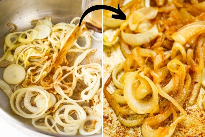 Raw onions in pan with brown sauce and fried translucent onions in pan