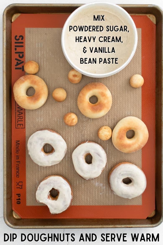Mix icing, dip doughnuts, and serve warm