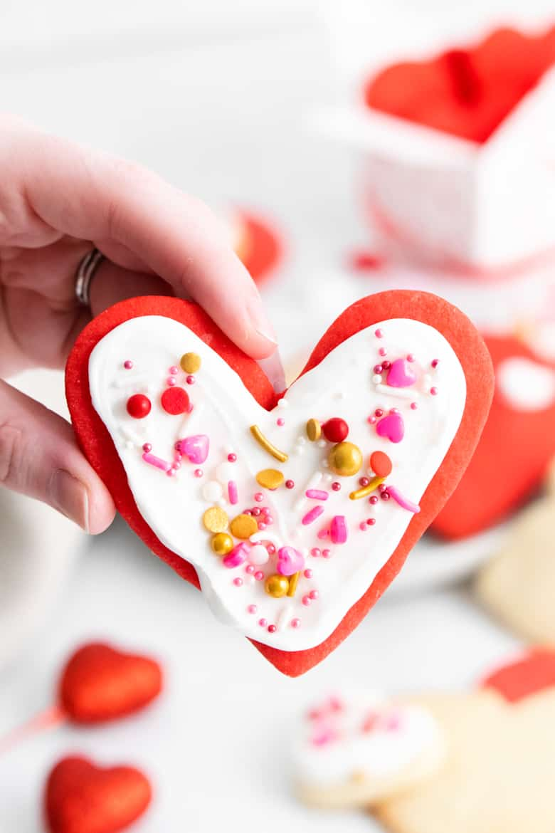 Heart Cookies with white icing and sprinkles