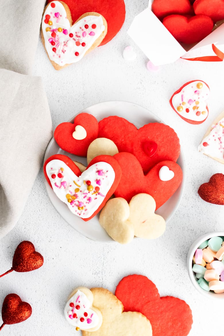 decorated valentine heart cookies
