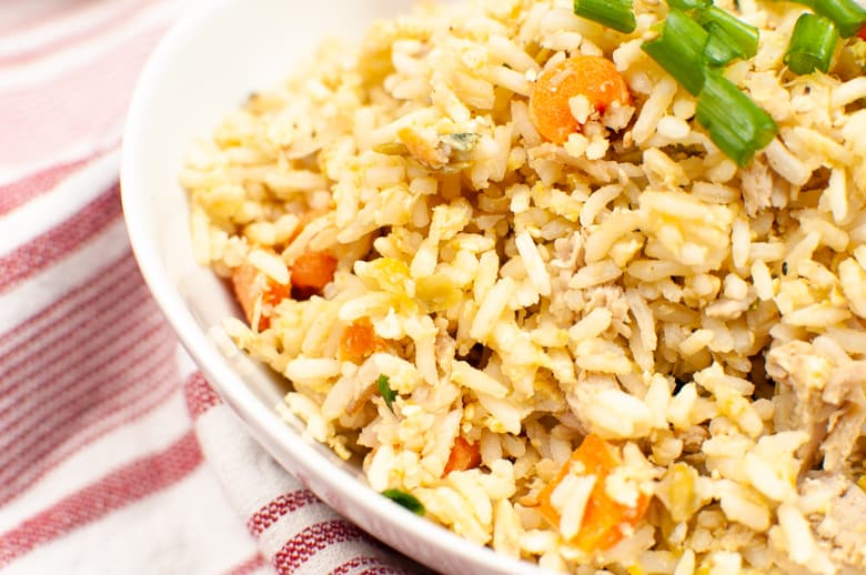 Fried rice with peas, carrots, scallions, and chicken