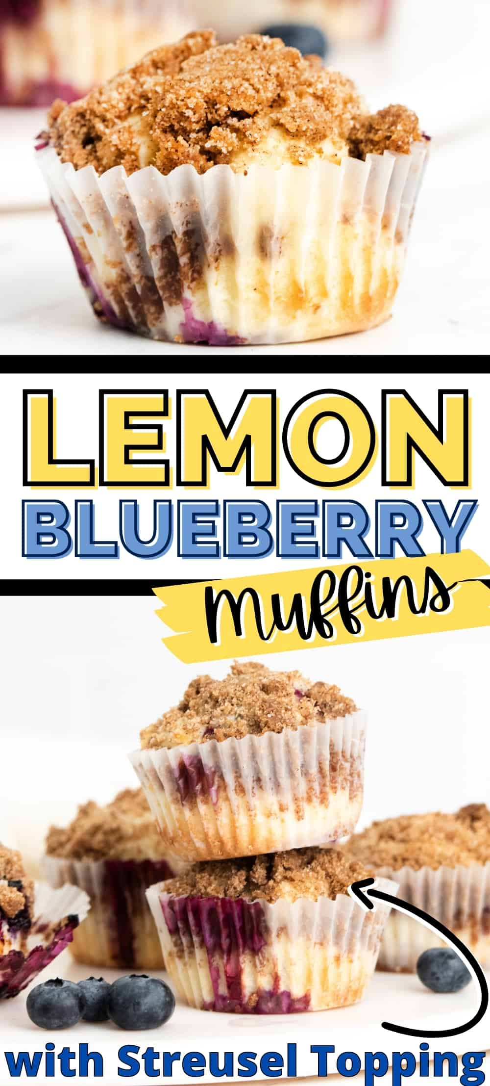 Lemon Blueberry Muffins with Streusel Topping