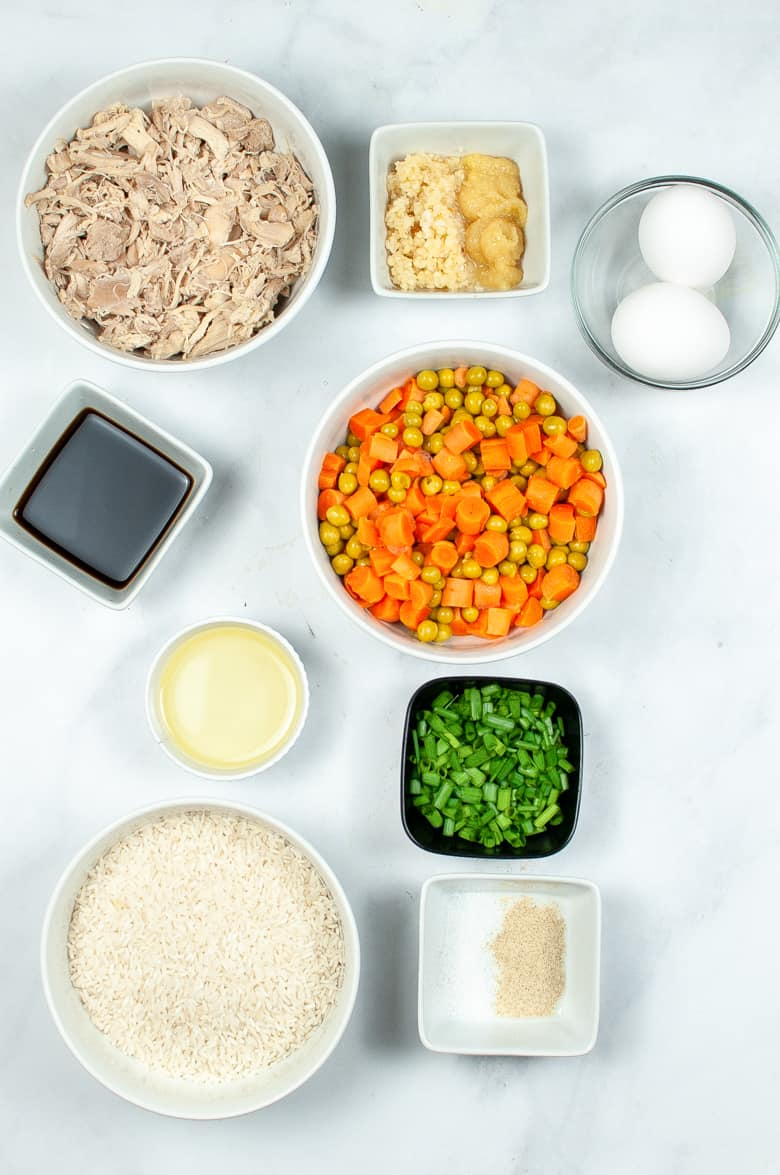 Shredded chicken, peas, carrots, white rice, green onions, eggs, and other ingredients