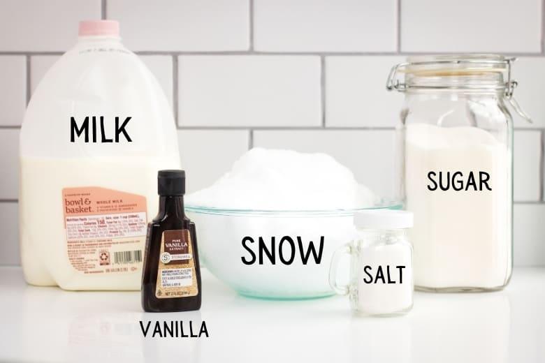 milk, vanilla extract, snow, salt, sugar