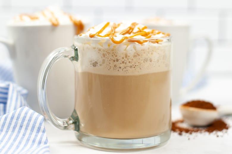 homemade caramel macchiato coffee in a transparent mug