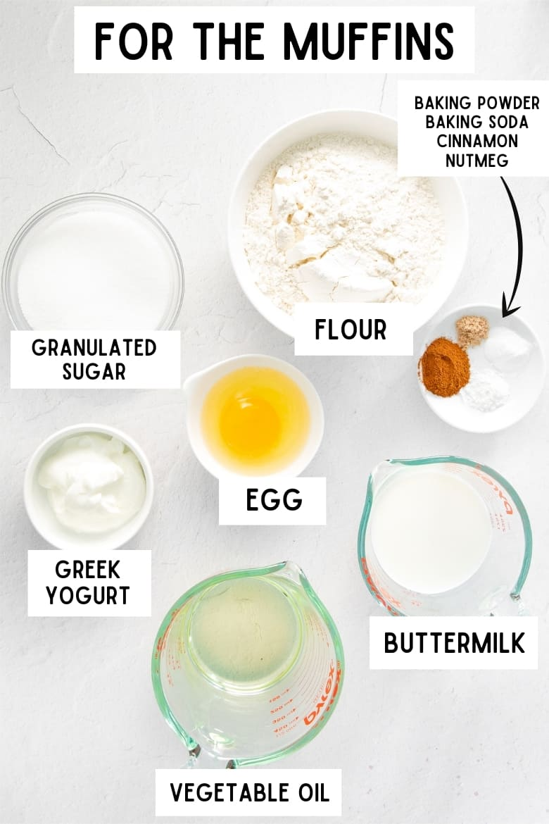 Reads: For the muffins. Image shows bowls of ingredients on a table, each labeled with they are: granulated sugar, flour, Greek yogurt, egg, buttermilk, vegetable oil, baking soda, baking powder, cinnamon, and nutmeg