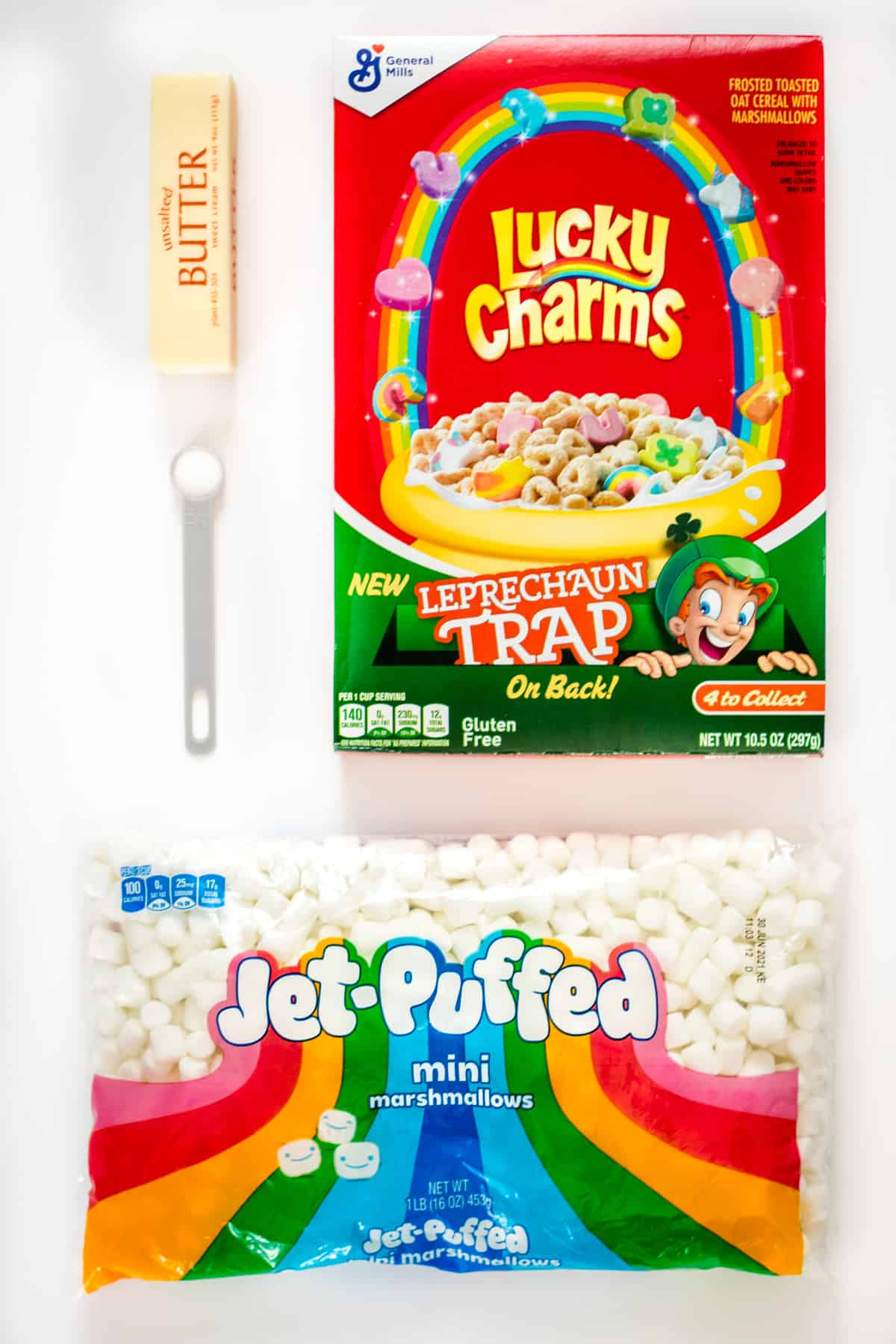 Stick of unsalted butter, half teaspoon of salt, 10.5 ounce box of Lucky Charms cereal, 16 ounce bag of mini marshmallows