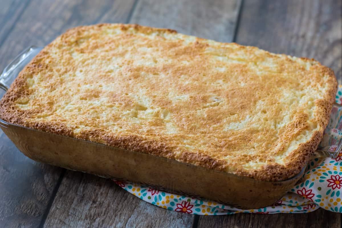 Pineapple Angel Food cake in rectangular baking dish