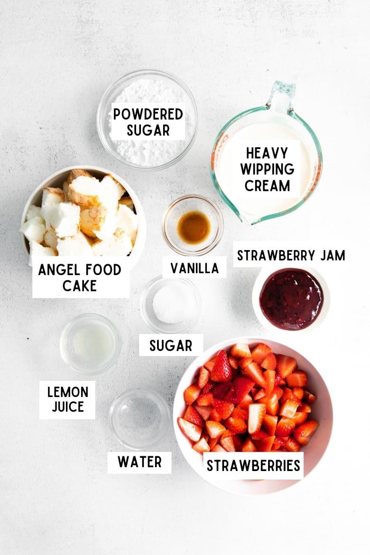 powdered sugar, heavy whipping cream, angel food cake, vanilla, strawberry jam, sugar, lemon juice, water, strawberries