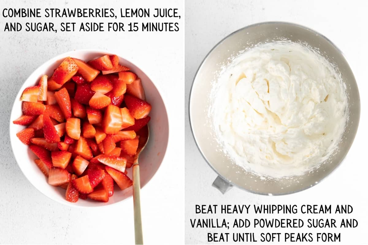 Left: chopped strawberries in large bowl with spoon; Right: whipped cream forming soft peaks in large bowl