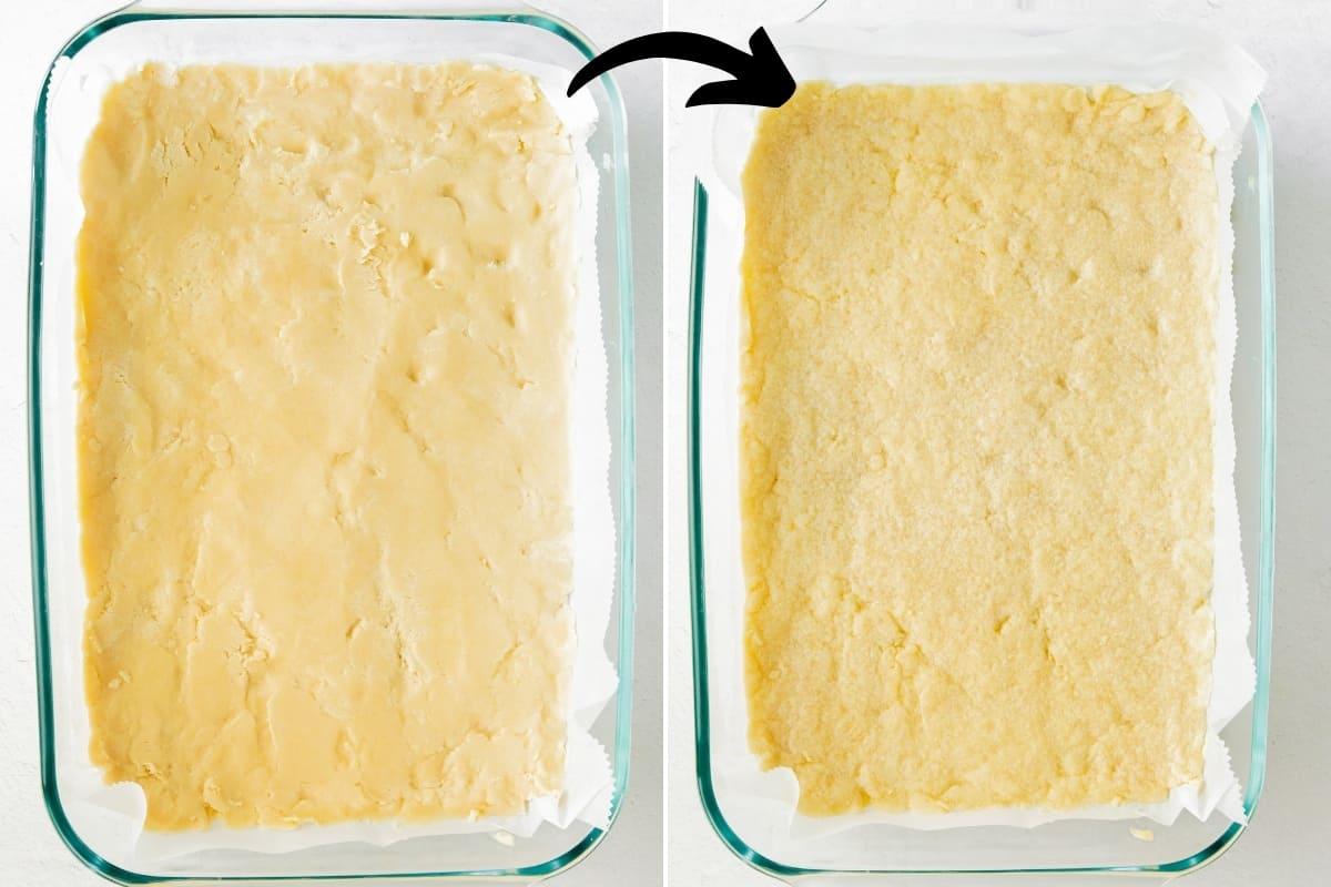 unbaked crust in 9 x 13 pan; baked crust in 9 x 13 pan