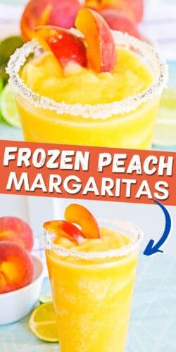 Pinterest Image, reads: frozen peach margaritas
