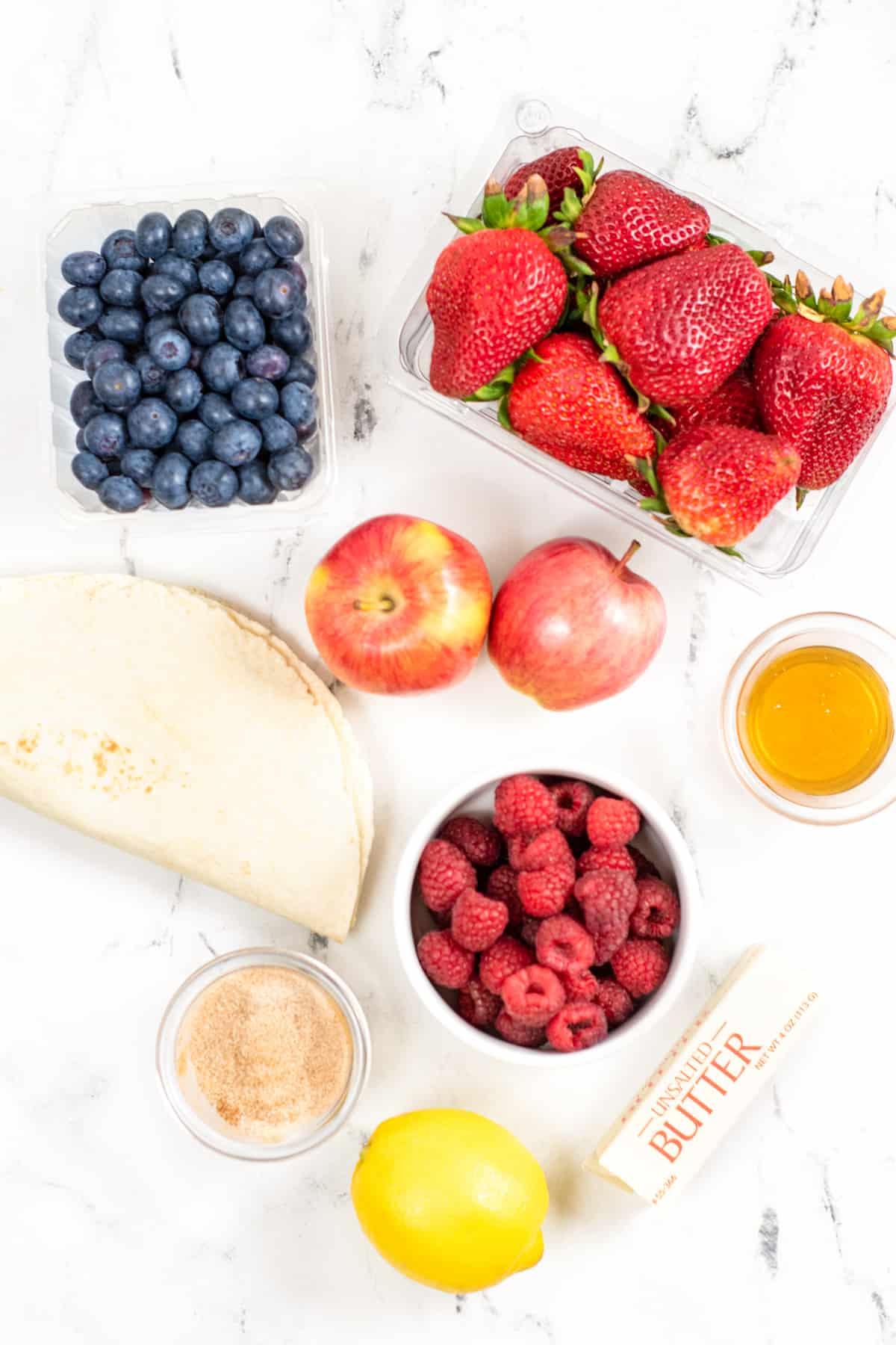Fruit Salsa Ingredients: pint of blueberries, 16 oz package of strawberries, bowl of raspberries, 2 red apples, lemon juice, tortillas, butter, sugar, and ground cinnamon