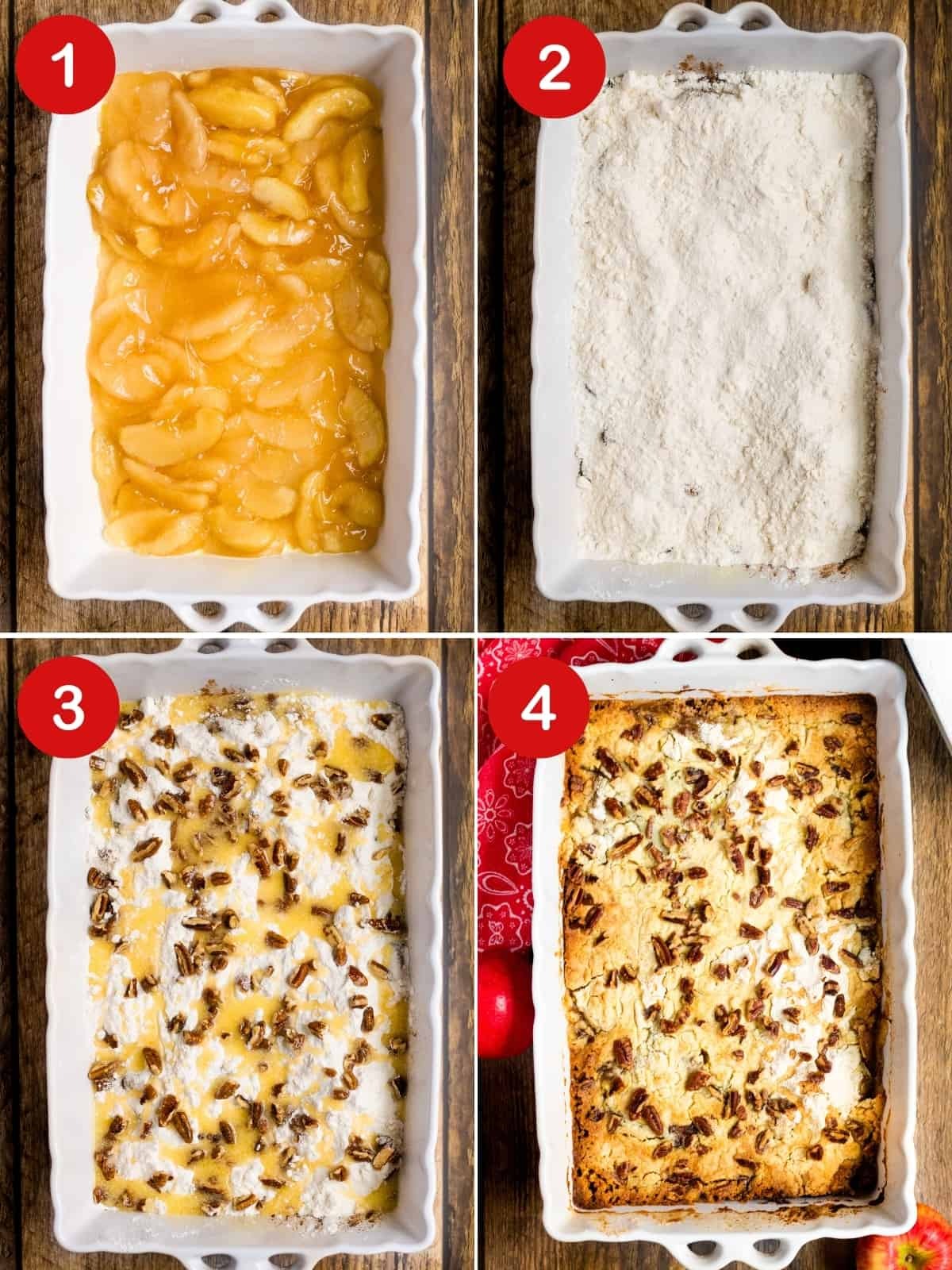 4 image collage: Top left, baking pan with layer of apple pie filling; top right, same pan topped with cake mix; bottom left, same pan but with the addition of pecans and melted butter; bottom right, cake in pan golden brown after baking