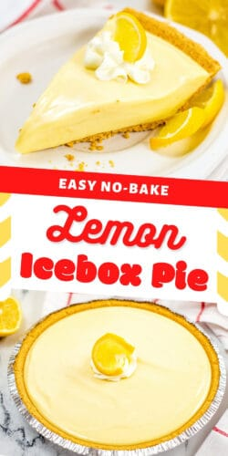 Pinterest image, reads: Easy no-bake lemon icebox pie