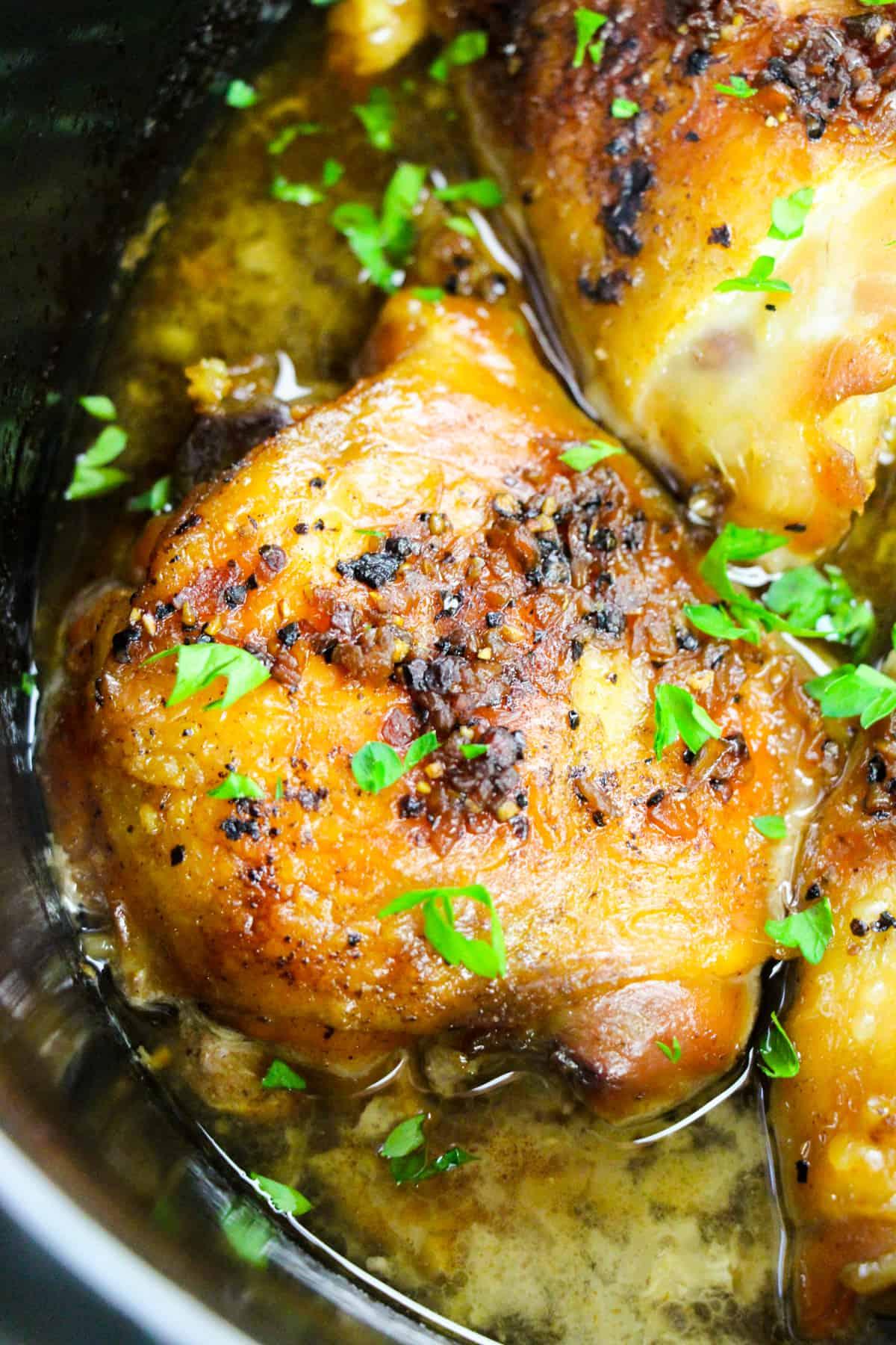 brown sugar garlic bone-in chicken thighs in slow cooker