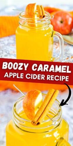 Boozy Caramel Apple Cider Recipe Pin Image