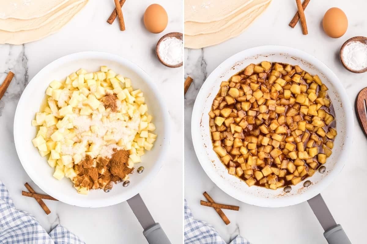 Two image collage. On left, white pan with cubed apples, lemon juice, sugar, and seasonings. On right, same but with ingredients stirred together.