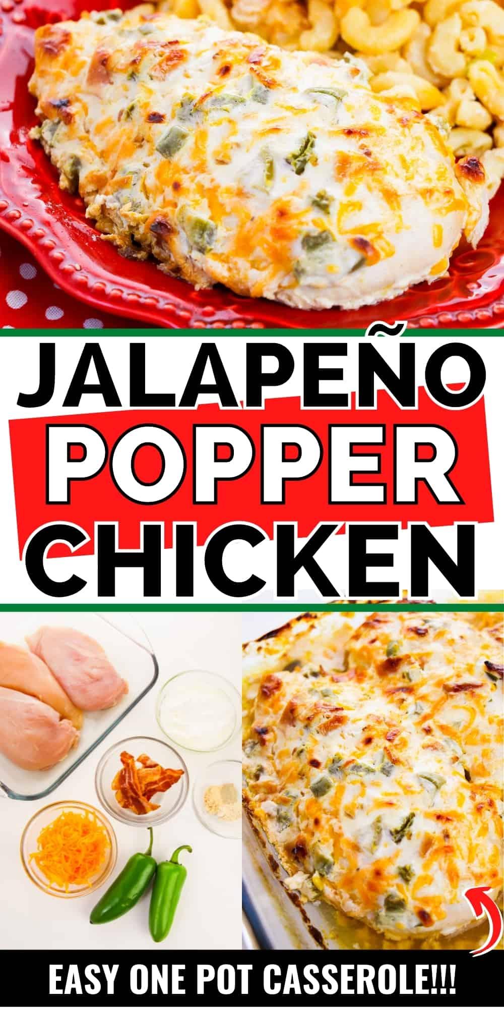 Pinterest image, reads: Jalapeno popper chicken, easy one pot casserole