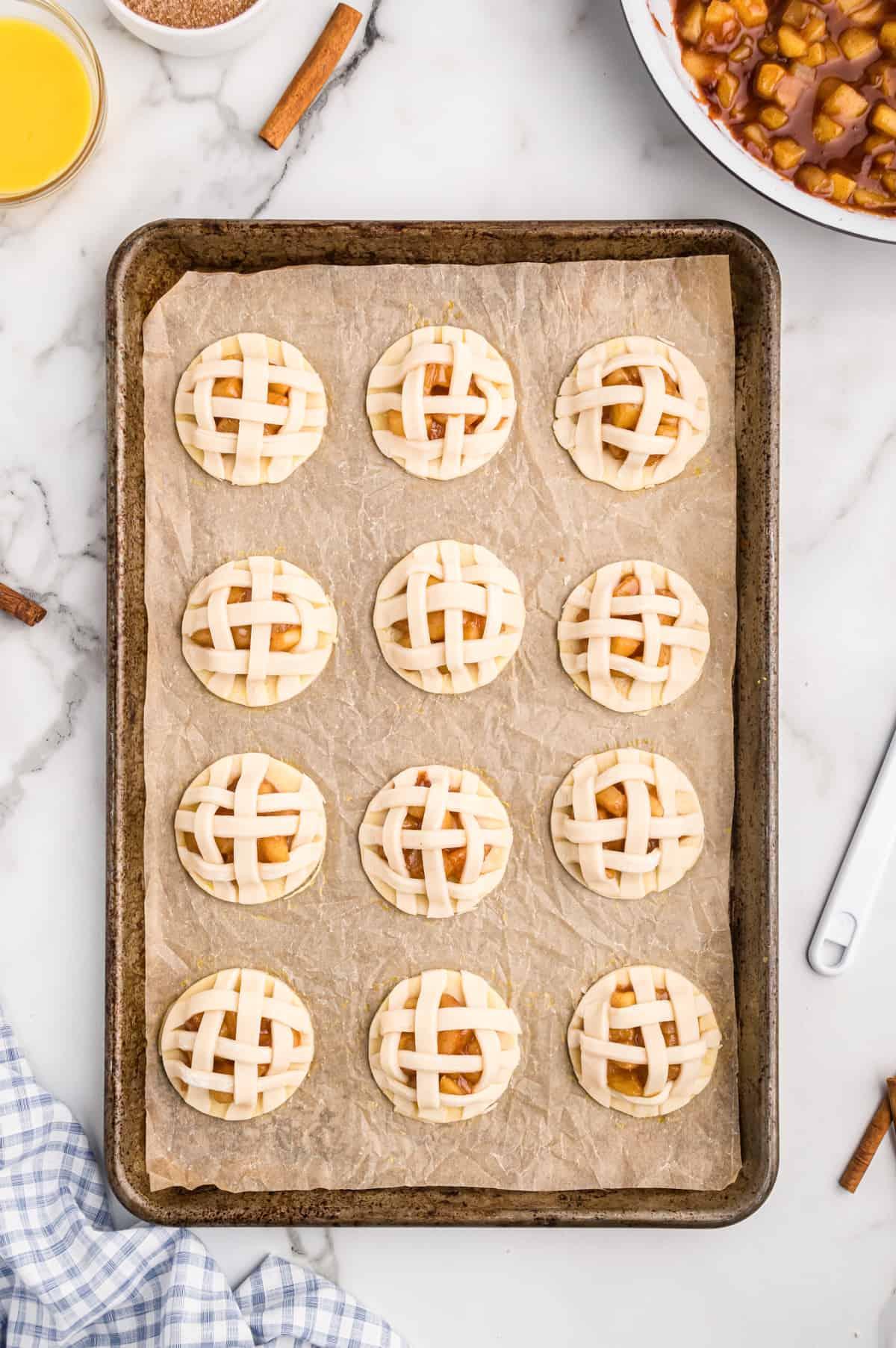 Pie crust strips used to create lattice pattern on top of cookies