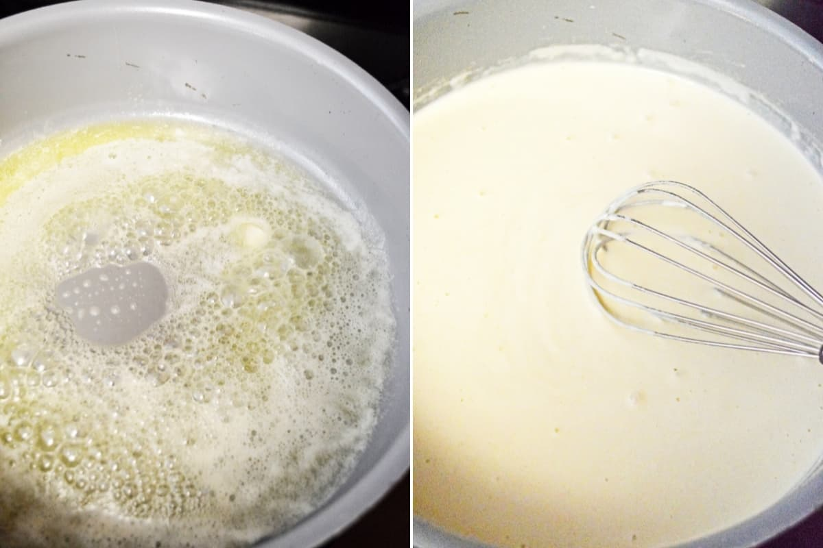 Left: butter and flour in saucepan; right: roux in saucepan with wire whisk