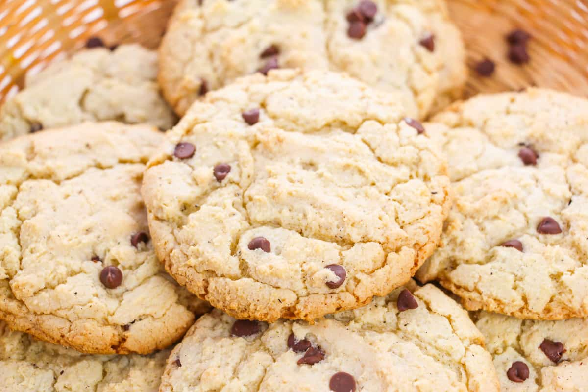 Chocolate Chip Cake Mix Cookies in basket for serving