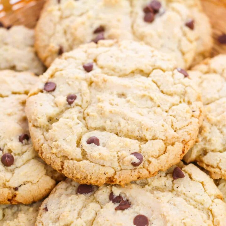 Chocolate Chip Cake Mix Cookies in serving basket