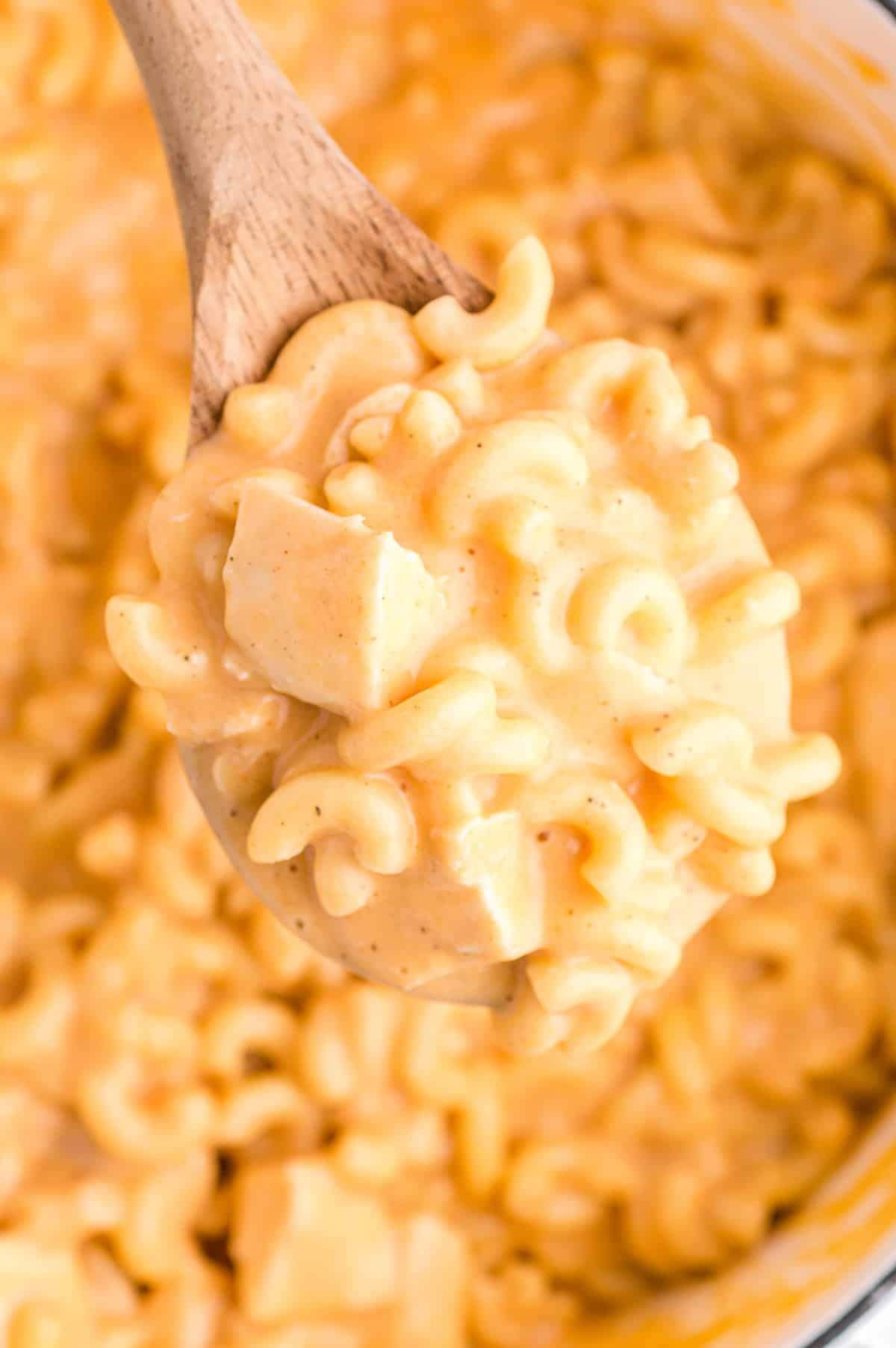 Wooden spoon lifting a spoonful of buffalo chicken mac and cheese out of large pot
