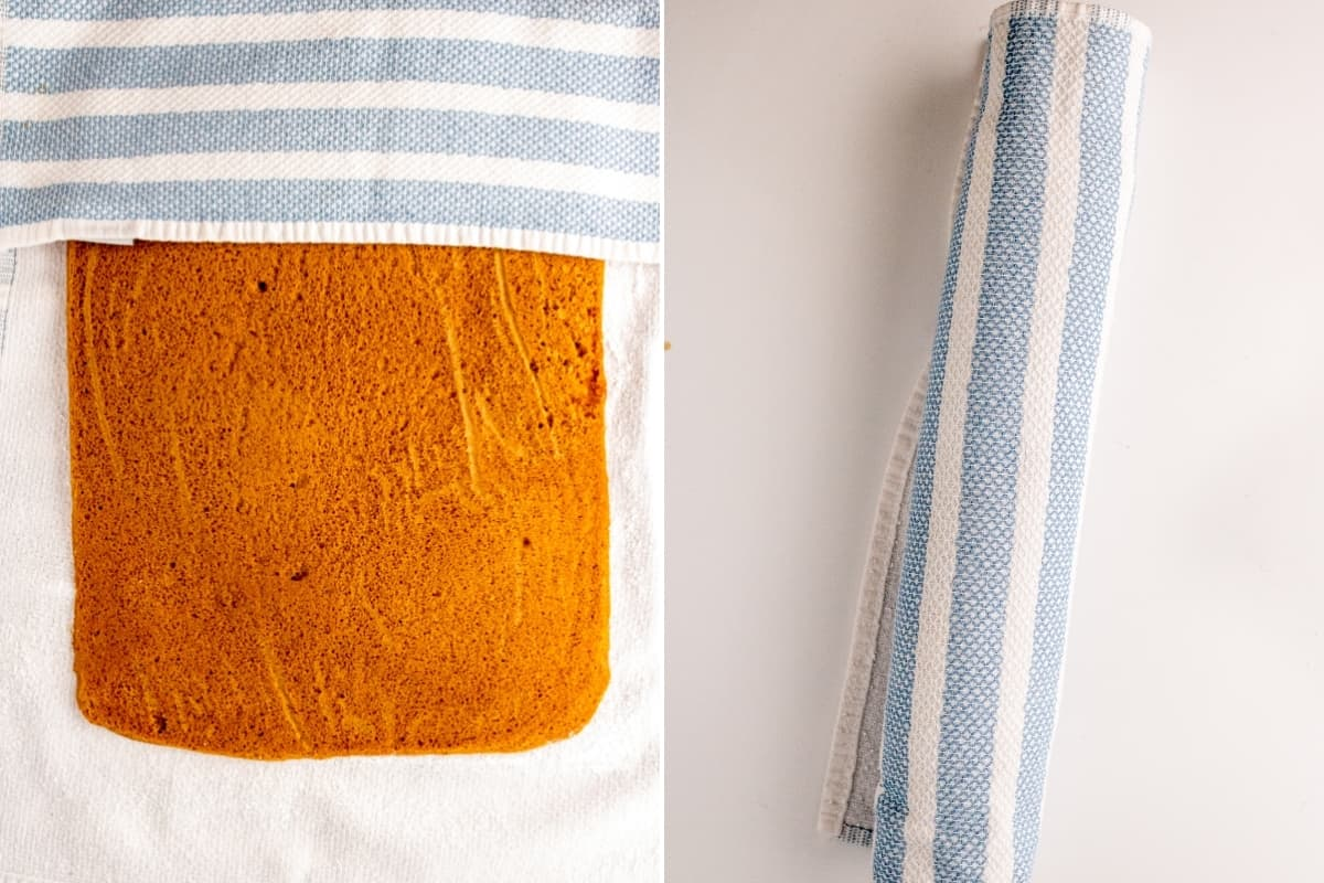 Two image collage. On left, pumpkin cake with kitchen towel for rolling. On right, cake rolled in towel into a log