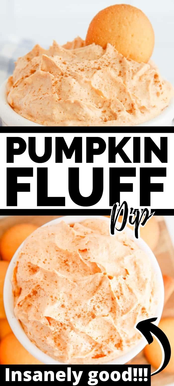 Pinterest image: pumpkin fluff dip; insanely good!!!